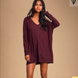 Maroon Long Sleeve Soft Sweater Dress